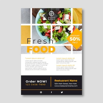 Vers voedsel folder sjabloon met foto