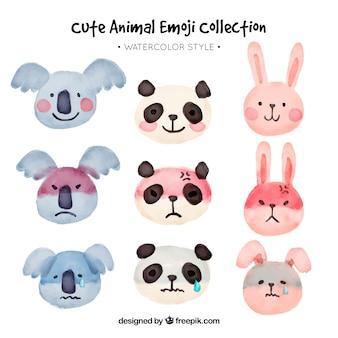 Verscheidene dier emoticons in aquarel stijl