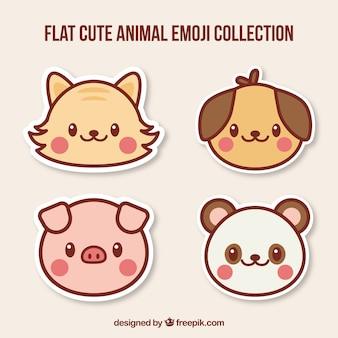 Verscheidene grote dierlijke emoticons
