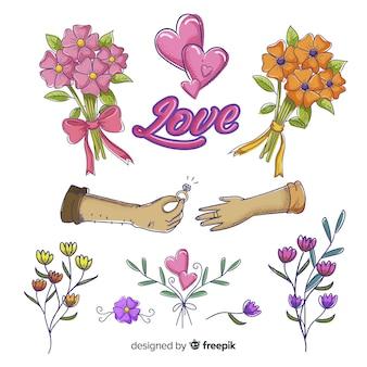 Verscheidenheid aan bloemenelementen voor bruiloft