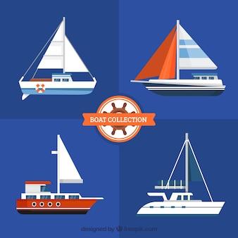 Verscheidenheid aan boten met groot design