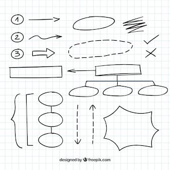 Verscheidenheid aan diagrammen elementen