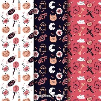 Verscheidenheid aan elementen met kat en schedel naadloos patroon