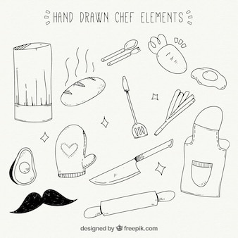 Verscheidenheid aan geweldige handgetekende chef-kok items