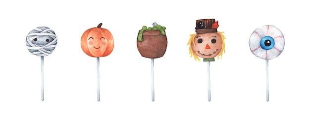 Verscheidenheid aan halloween cake pops. aquarel illustratie.