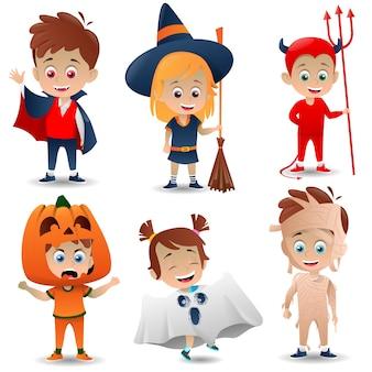 Verscheidenheid aan halloween-kostuums voor kinderen