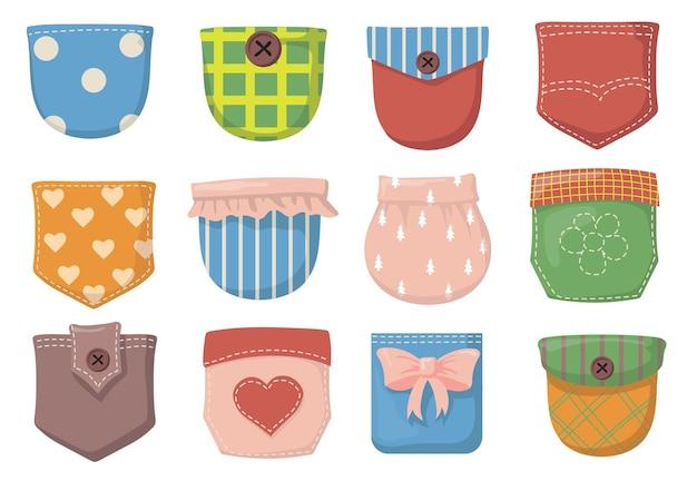 Verscheidenheid aan kleurrijke platte set met opgestikte zakken