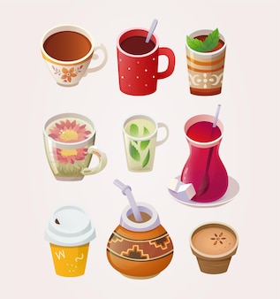 Verscheidenheid aan kopjes en glazen met thee uit verschillende landen en plaatsen
