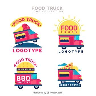 Verscheidenheid aan logo's van roze voedselvrachtwagens