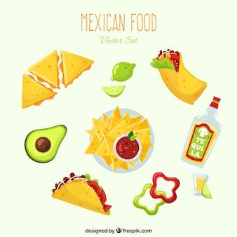 Verscheidenheid aan mexicaans eten met platte deisgn