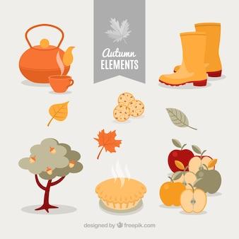 Verscheidenheid aan mooie herfstelementen