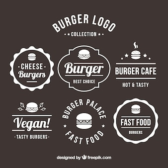 Verscheidenheid aan platte hamburgerlogo's