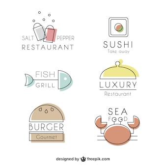 Verscheidenheid aan restaurants in rechte lijn logos