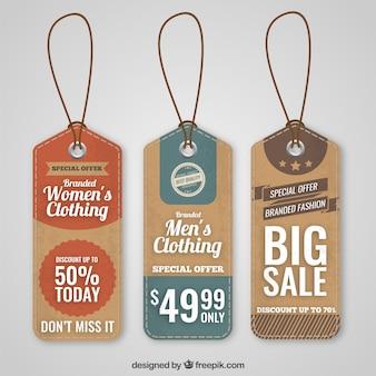 Verscheidenheid aan winkels labels