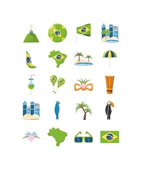 Verscheidenheid brazilië icon set pack
