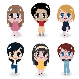 Verscheidenheid leuke gelukkige kinderen collectie