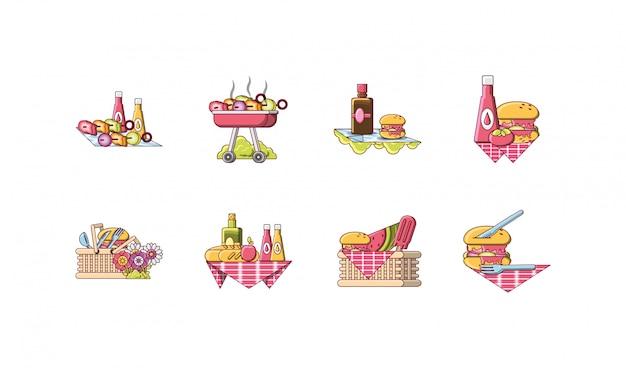 Verscheidenheid picknick icon set pack