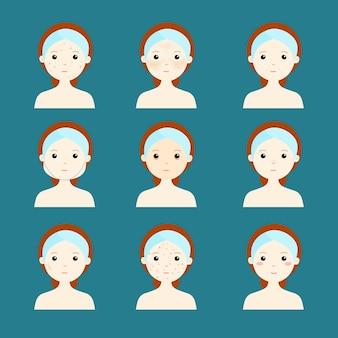 Verscheidenheid probleem huid vrouwen gezicht