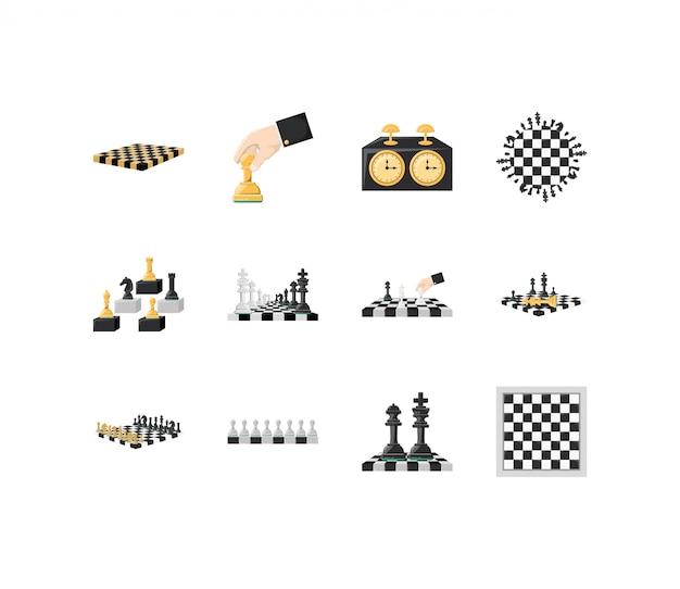 Verscheidenheid schaken icon set pack