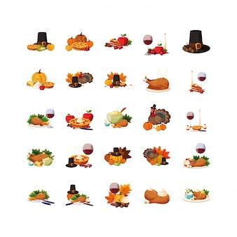 Verscheidenheid thanksgiving day icon set pack