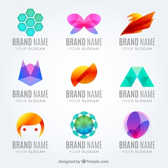 Verscheidenheid van abstracte logo's in kleuren