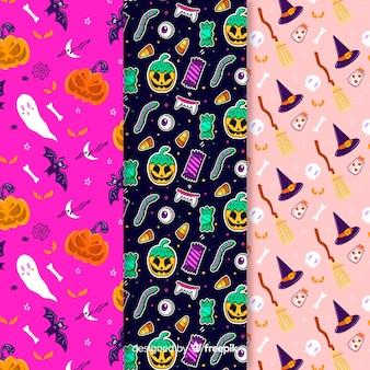 Verscheidenheid van achtergrondkleuren met halloween-patroon