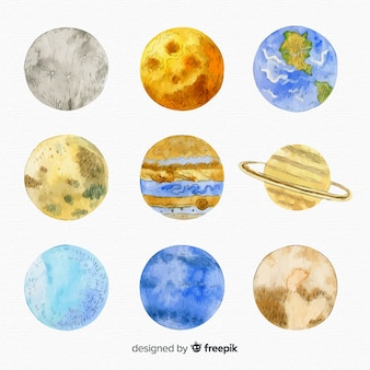 Verscheidenheid van aquarel planeet collectie