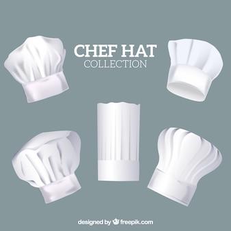 Verscheidenheid van chef-kok hoeden in realistisch ontwerp