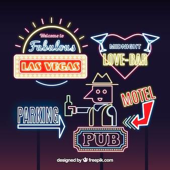 Verscheidenheid van decoratieve neonlampen tekenen