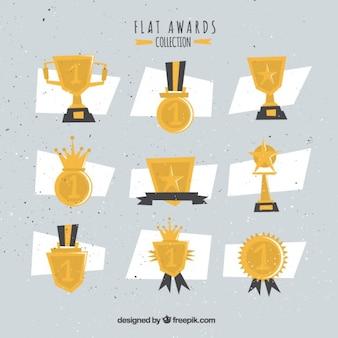 Verscheidenheid van flat awards in vintage stijl