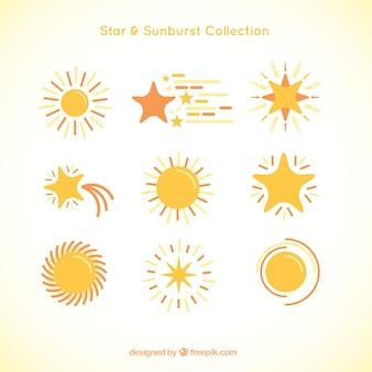 Verscheidenheid van gele zonnestraal en de sterren