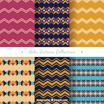 Verscheidenheid van geometrische patronen in boho stijl