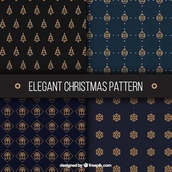 Verscheidenheid van gouden kerst stijlvolle patronen