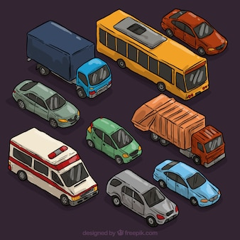 Verscheidenheid van hand getrokken auto's