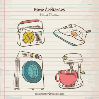 Verscheidenheid van hand getrokken huishoudelijke apparaten