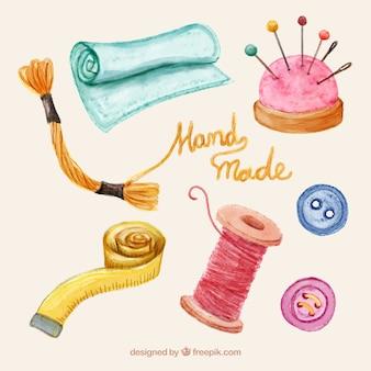 Verscheidenheid van het naaien van items in aquarel