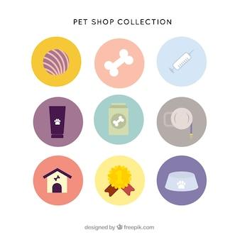 Verscheidenheid van huisdier items in vlakke stijl