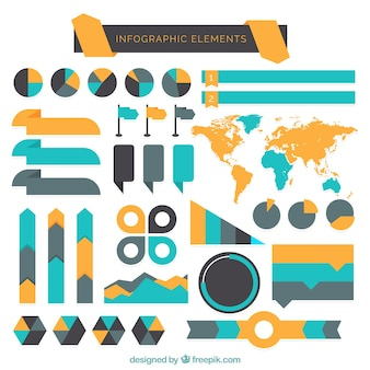 Verscheidenheid van infographic elementen in plat design