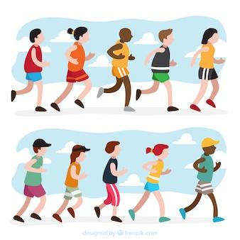 Verscheidenheid van mensen lopen