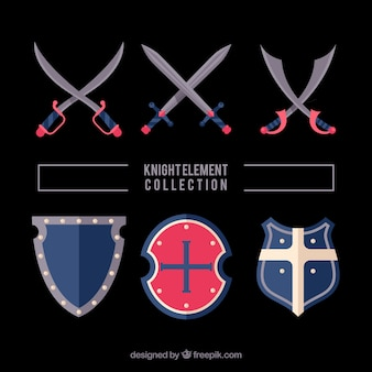 Verscheidenheid van middeleeuwse zwaarden en schilden