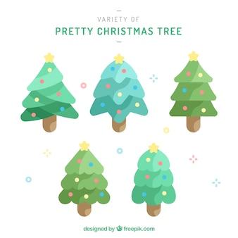 Verscheidenheid van mooie kerstbomen