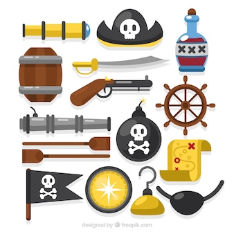 Verscheidenheid van piratenobjecten in plat ontwerp