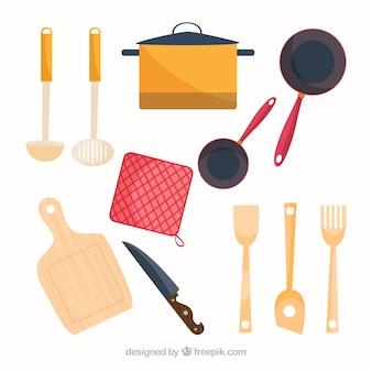 Verscheidenheid van platte chef-kok elementen