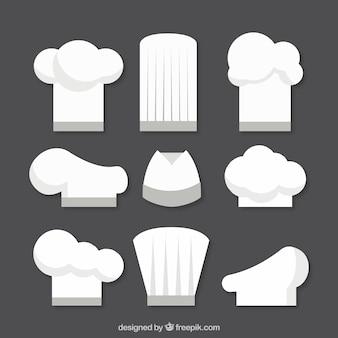 Verscheidenheid van platte chef-kok hoeden