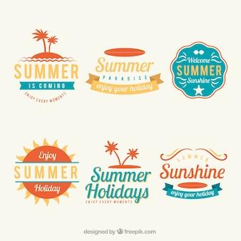Verscheidenheid van platte labels voor de zomer