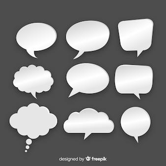 Verscheidenheid van platte ontwerp tekstballonnen in papierstijl