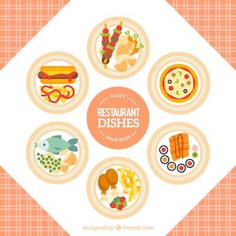Verscheidenheid van restaurant gerechten in plat design