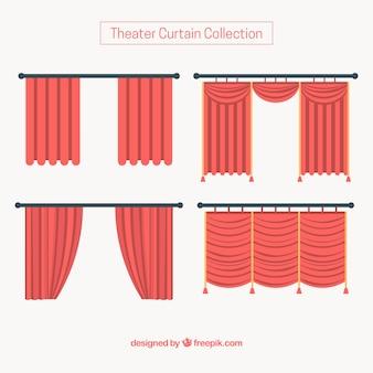 Verscheidenheid van rode theatergordijnen