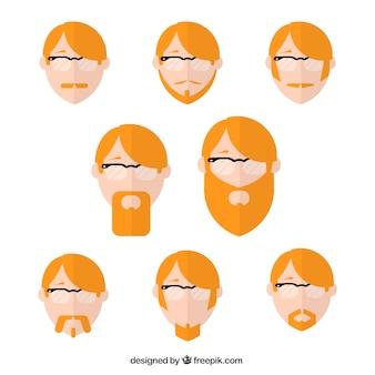 Verscheidenheid van rood haar man avatars