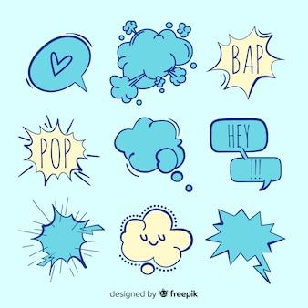 Verscheidenheid van spraak bubbels vormen met uitdrukkingen
